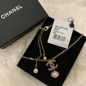 Chanel 16B CC pearl necklace gold